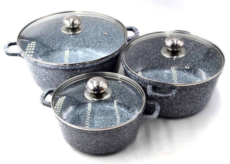 Набор Кастрюля Benson с крышкой алюминий BN-324 6пр: 2.1л , 4.2л 6,3л. Индукция PR5