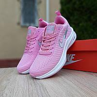 Женские кроссовки текстильные Nike Flyknit Lunar 3 весенниенайки для тренировки, розовые