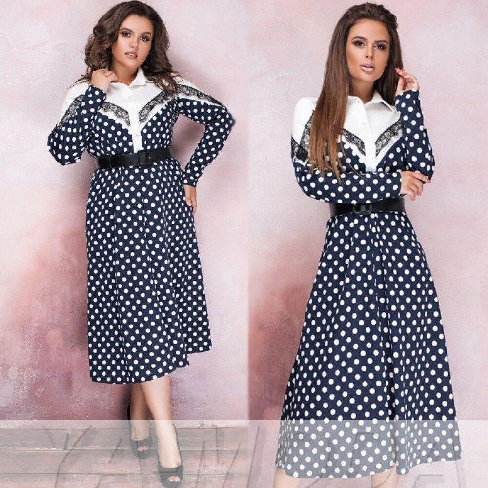 """Стильное женское платье дополнено кружевом, ткань """"Французский трикотаж"""" 48 размер батал"""