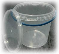 Пластиковое ведро 1,1л. круглое, прозрачное, герметичное, с контрольной пломбой, ручкой и крышкой