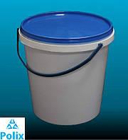Пластиковое ведро 1,1л. круглое, белое, герметичное, с контрольной пломбой, ручкой и крышкой