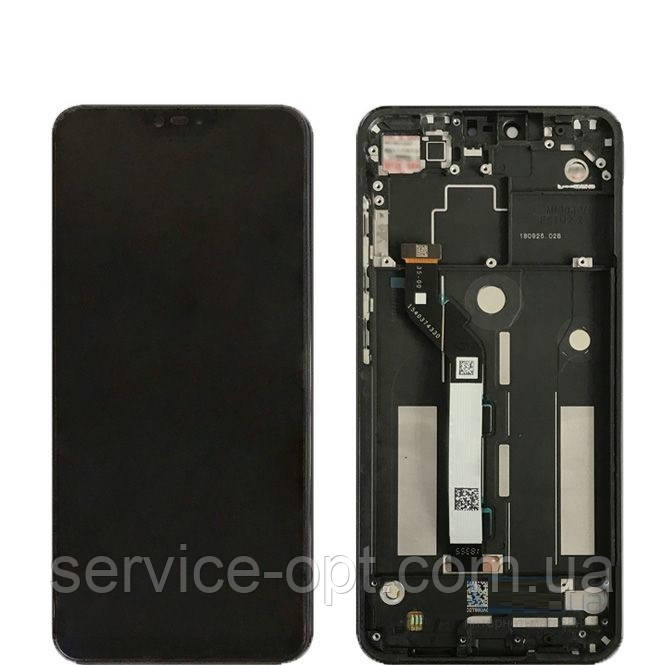 Дисплей Xiaomi Mi8 Lite, Mi8x + сенсор чёрный + рамка синяя
