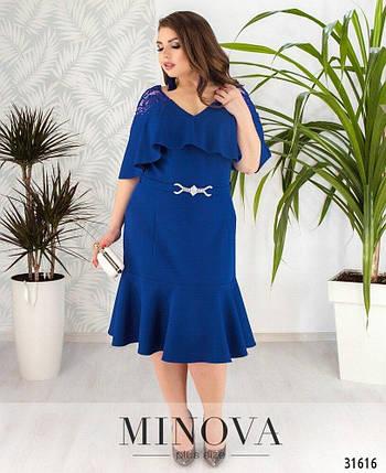 """Изумительное женское платье с V-образным вырезом ткань """"Костюмная"""" 50, 52, 54 размер батал, фото 2"""