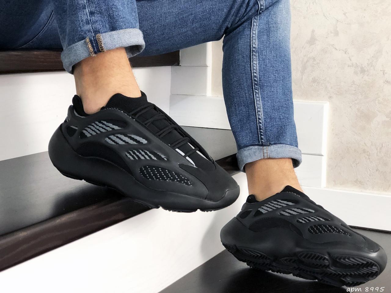 Мужские кроссовки черные текстиль пласмаса