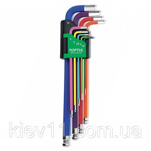 Набір шестигранних ключів з кулею TOPTUL 1,5-10мм 9ед. різнокольорових GAAL0918