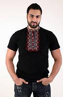 Мужская красивая футболка из стильной вышивкой крестиком синий+красный