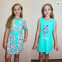 Набор для девочек ночная и халат трикотажный мята 36-42р., фото 1