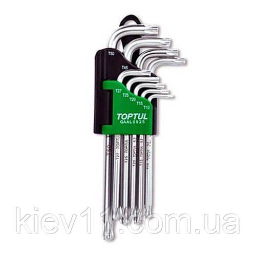 Набор ключей TORX Г-обр. длинных TOPTUL T10-T50 9ед. с отверстием и шаром GAAL0925