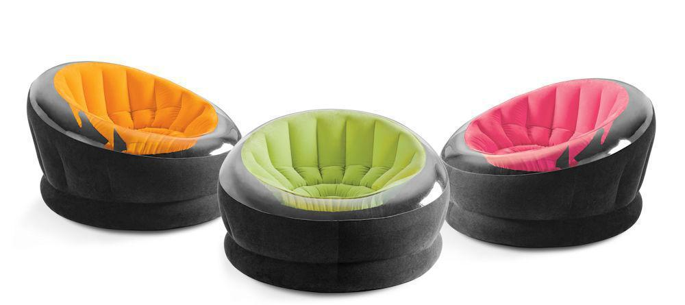Надувное велюр-кресло Intex Empire Chair 68582 салатового цвета
