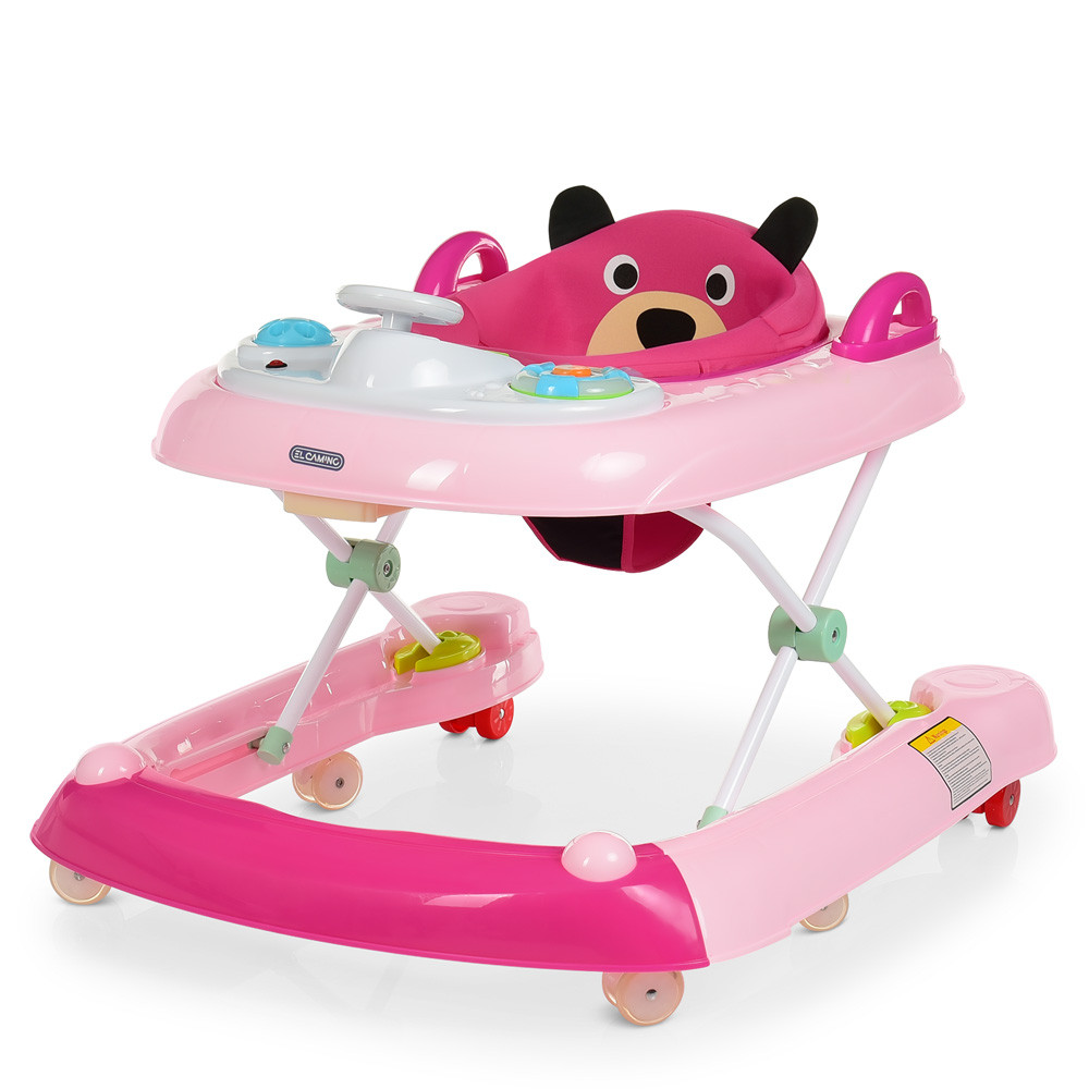 Детские ходунки толокар Мишка, ME 1055, муз.,силик. колеса, батар., светло-розовый