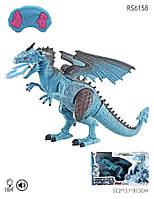 Дракон, 47 см, пульт управления, пускает пар, ходит, двигает головой, синий, фото 1