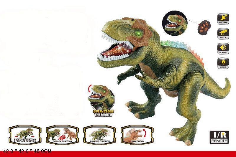 Интерактивный динозавр ходит, светится, открывает пасть, рычит, TT352, зеленый