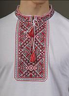 Стильная  практичная мужская футболка вышиванка с коротким рукавом белый+красный