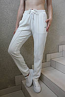 Женские нарядные белые брюки спорт-шик, на кулиске с серебристым лампасом, вечерние, повседневные, спортивные