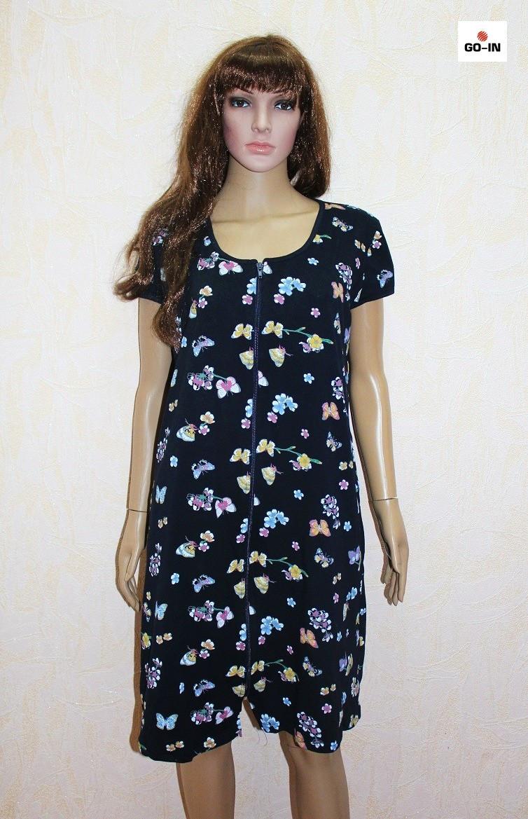 Халат на літо жіночий батальний синій квіти 50-62р
