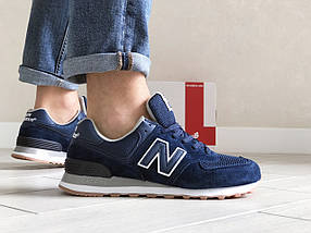 Мужские кроссовки темно синие эко замша с сеткой классические, фото 2
