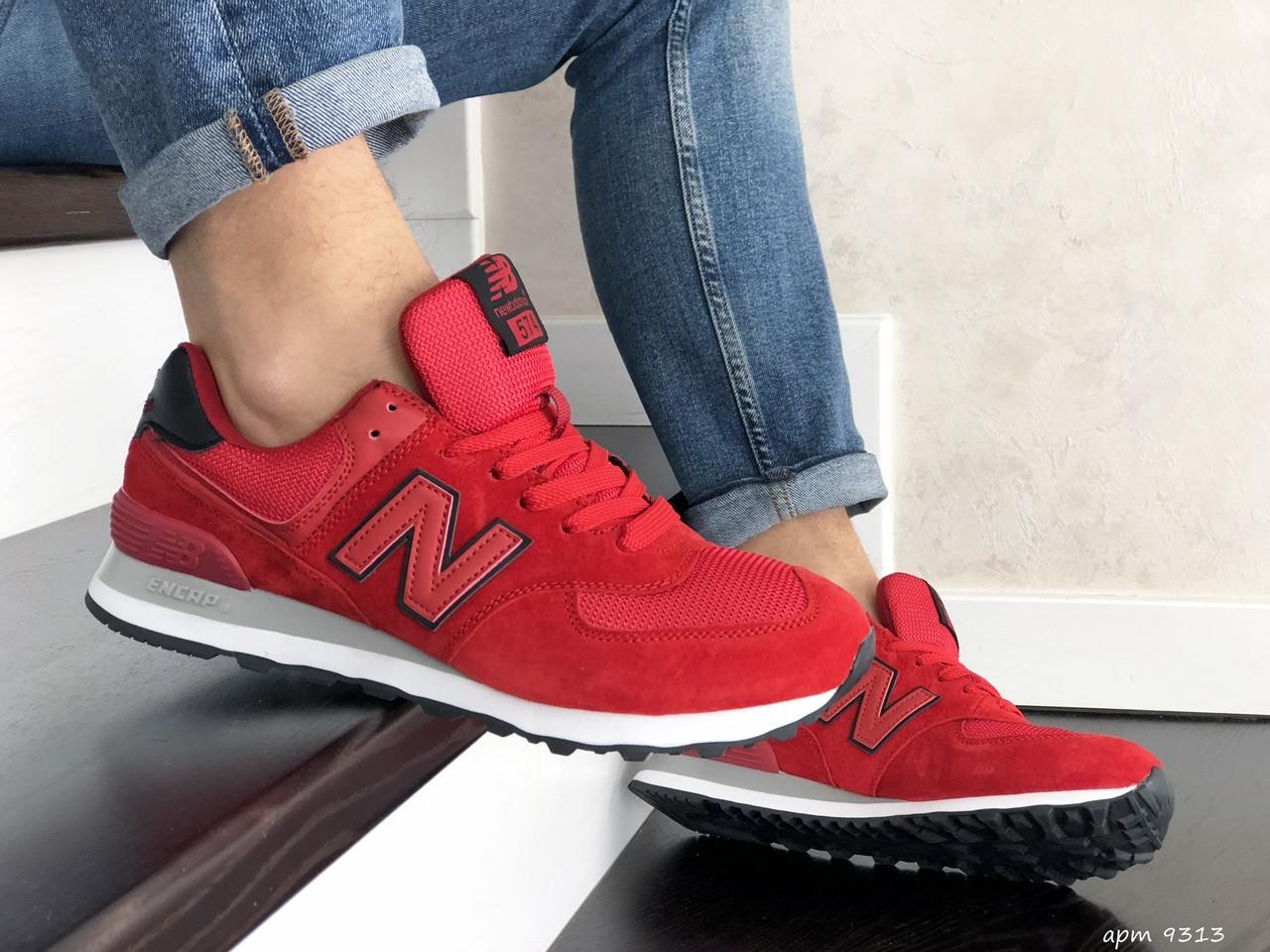 Мужские кроссовки красные эко замша с сеткой классические