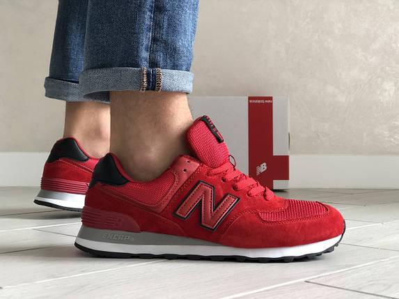 Мужские кроссовки красные эко замша с сеткой классические, фото 2