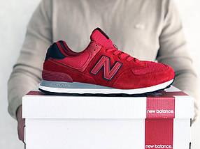 Мужские кроссовки красные эко замша с сеткой классические, фото 3