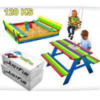 Набор песочница JustFun 120х120 см. + стол с лавочками цветное