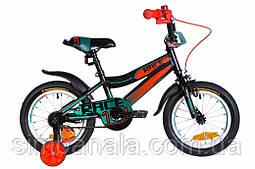 """Детский велосипед 14"""" Formula RACE 2020(черно-оранжевый с бирюзовым)"""