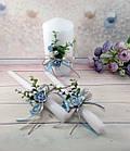 Свадебные свечи ручная работа в голубом цвете, фото 7