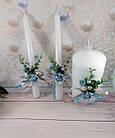 Свадебные свечи ручная работа в голубом цвете, фото 2