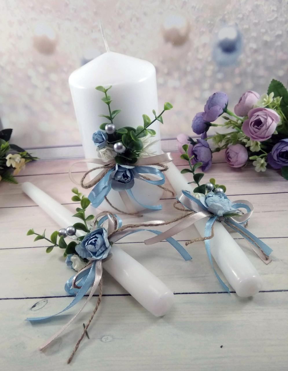 Свадебные свечи ручная работа в голубом цвете