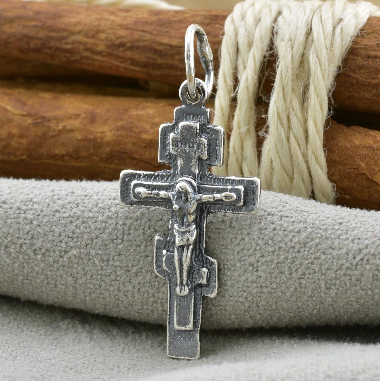Серебряный крест Старокиевский Спаси и сохрани размер 30х14 мм вес 1.79 г
