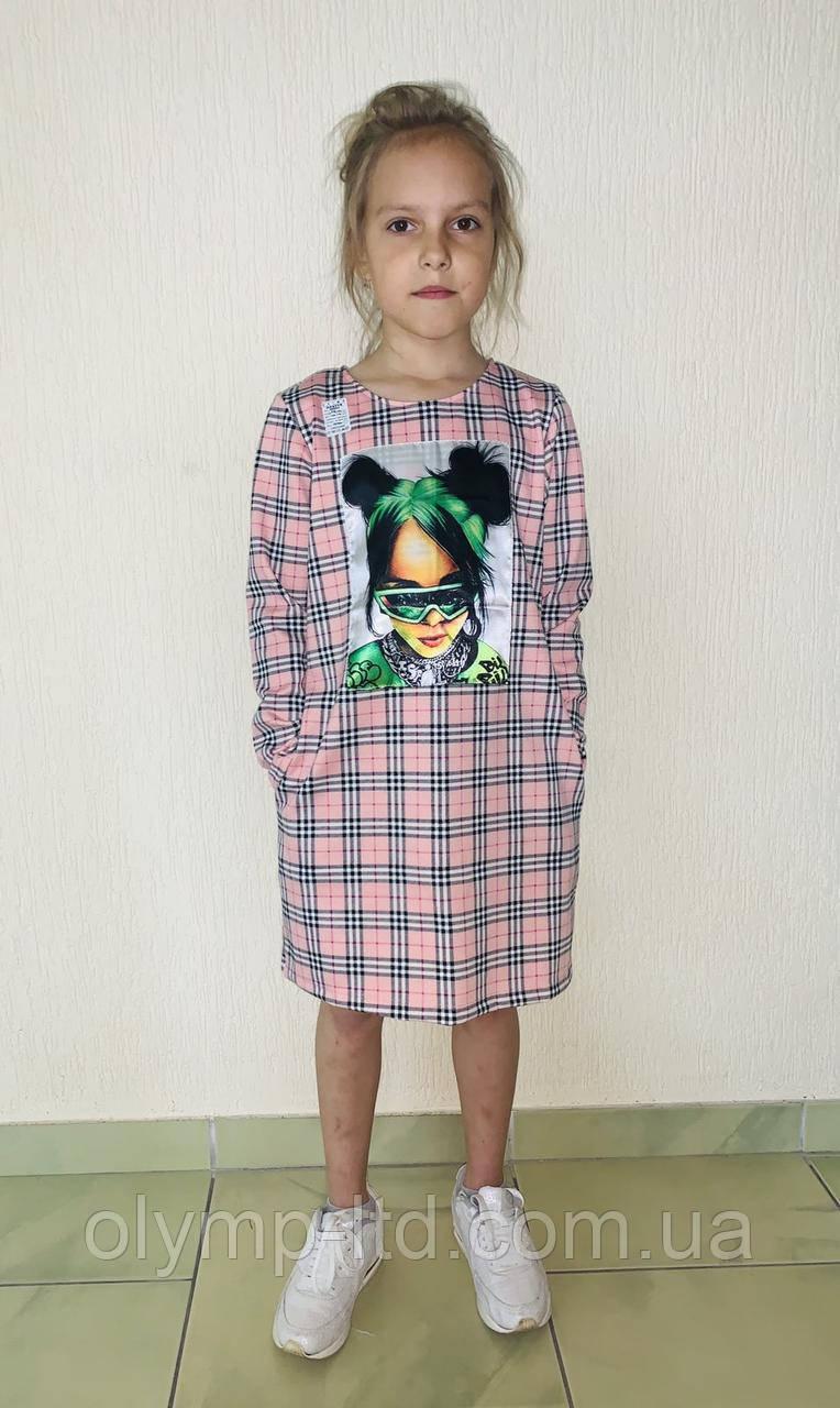 Платье для девочки подростка 36-42 р-рфранцуз принт клетка нашивка термоаппликация карман.