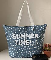 Молодежная летняя пляжная сумка голубая тканевая(коттоновая) со звездами, фото 1