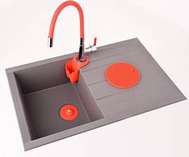 Cмеситель для кухни с гибким изливом красный Fala 75707, фото 2