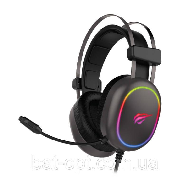 Наушники игровые Havit HV-H2016 с микрофоном, с подсветкой, черные