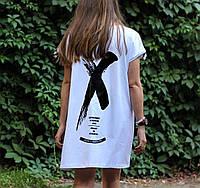 Легкое летнее платье-футболка в стиле Офф-Вайт (белое)