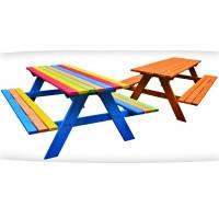 Детский стол с лавками деревянный уличный 120/100 см Just Fun