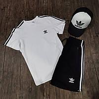 Мужской летний костюм шорты и футболка адидас/Adidas с тремя полосками