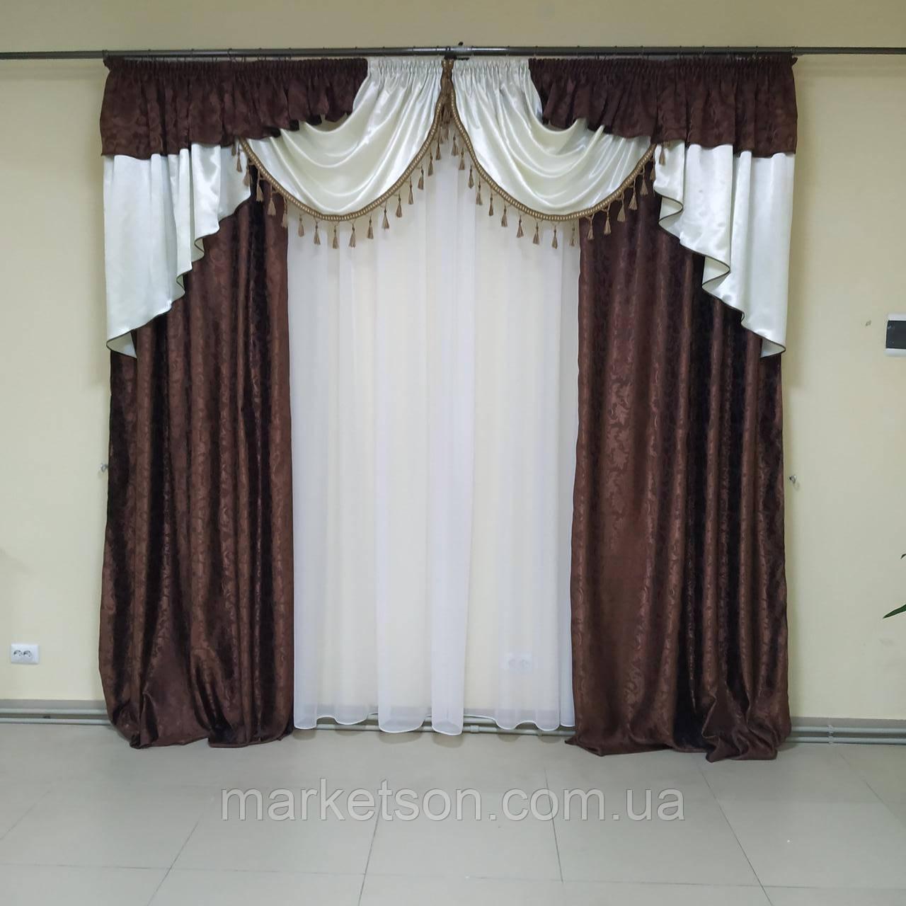 Комплект штор з ламбрекеном жаккард для спальні та вітальні
