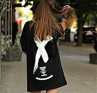 Легкое летнее платье-футболка в стиле Офф-Вайт (черное)
