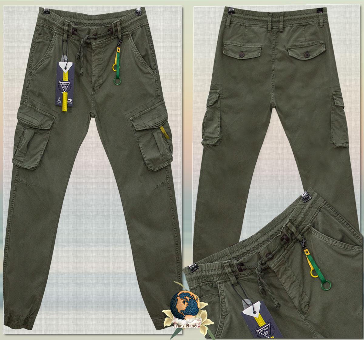 Джинсы мужские ITENO карго на манжете-резинке светлый хаки
