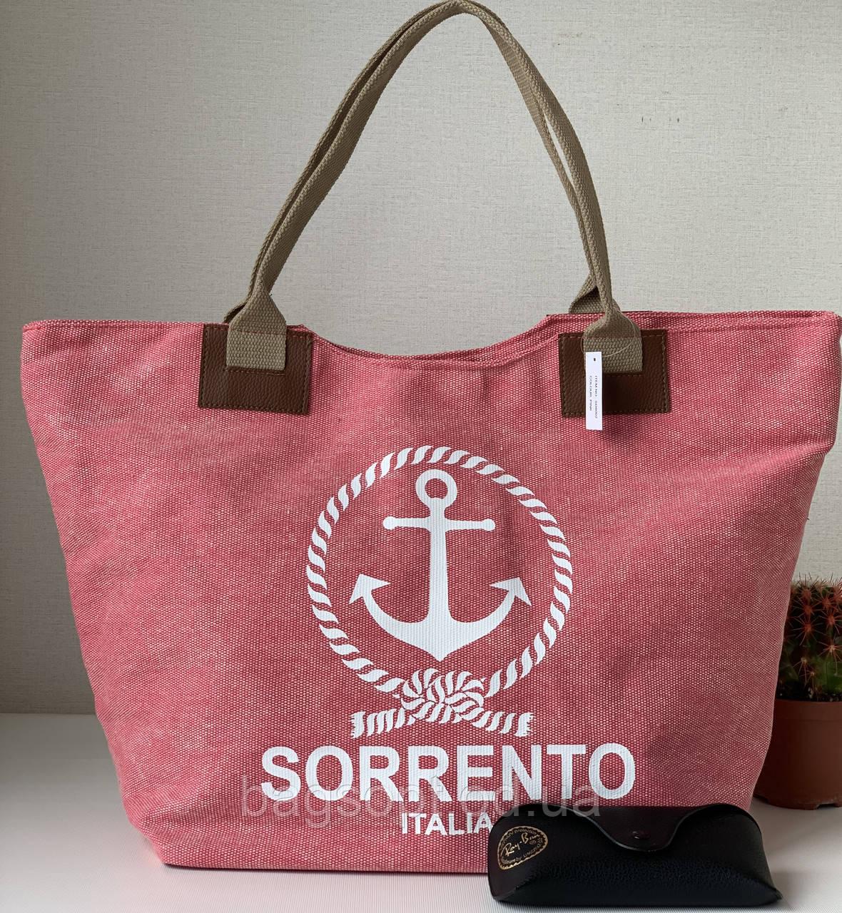 Льняная женская пляжная тканевая городская сумка розовая с якорем