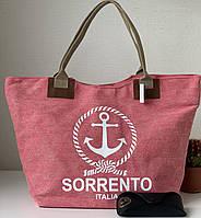 Льняная женская пляжная тканевая городская сумка розовая с якорем, фото 1