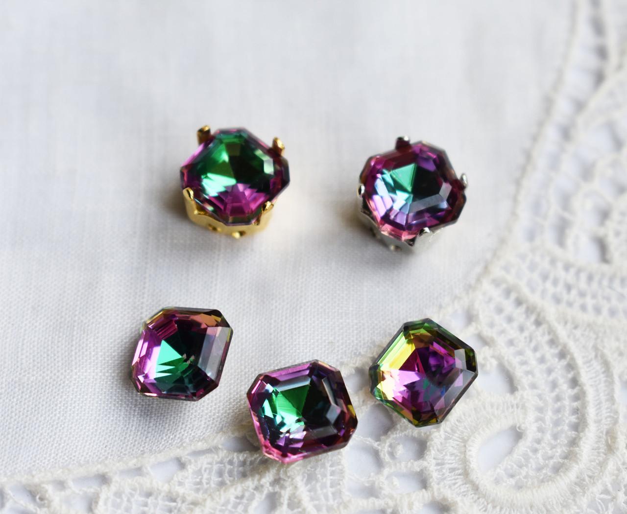 Стразы стеклянные 8 мм (SS39), зелено-желто-розовые