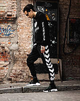 Мужской летний Спортивный костюм Tenc+DeVito черного цвета с белыми полосками(маска в подарок)