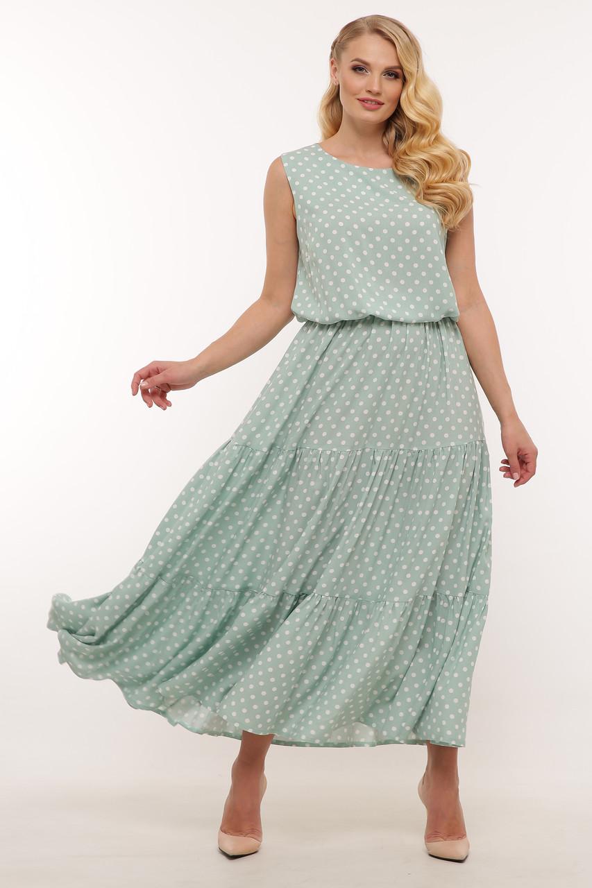 Платье лето больших размеров длинное в горошек