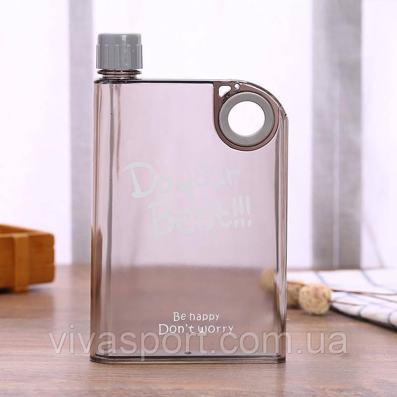 Портативна пластикова фляга, колір сірий