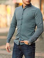 Рубашка джинсовая мужская однотонная коттон серая Киев