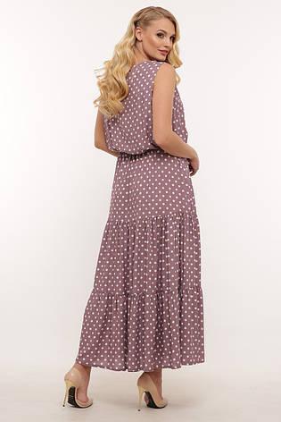 Платье на лето для полных длинное из штапеля в горошек, фото 2