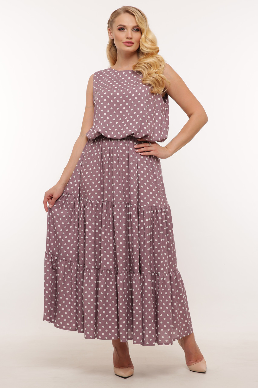 Платье на лето для полных длинное из штапеля в горошек