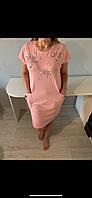 Хлопковая женская туника ночная сорочка для дома и сна,  , большой размер 2хл(50-52).