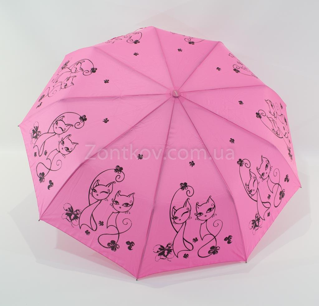 """Складной женский зонтик полуавтомат с кошками от фирмы """"Fiaba"""""""